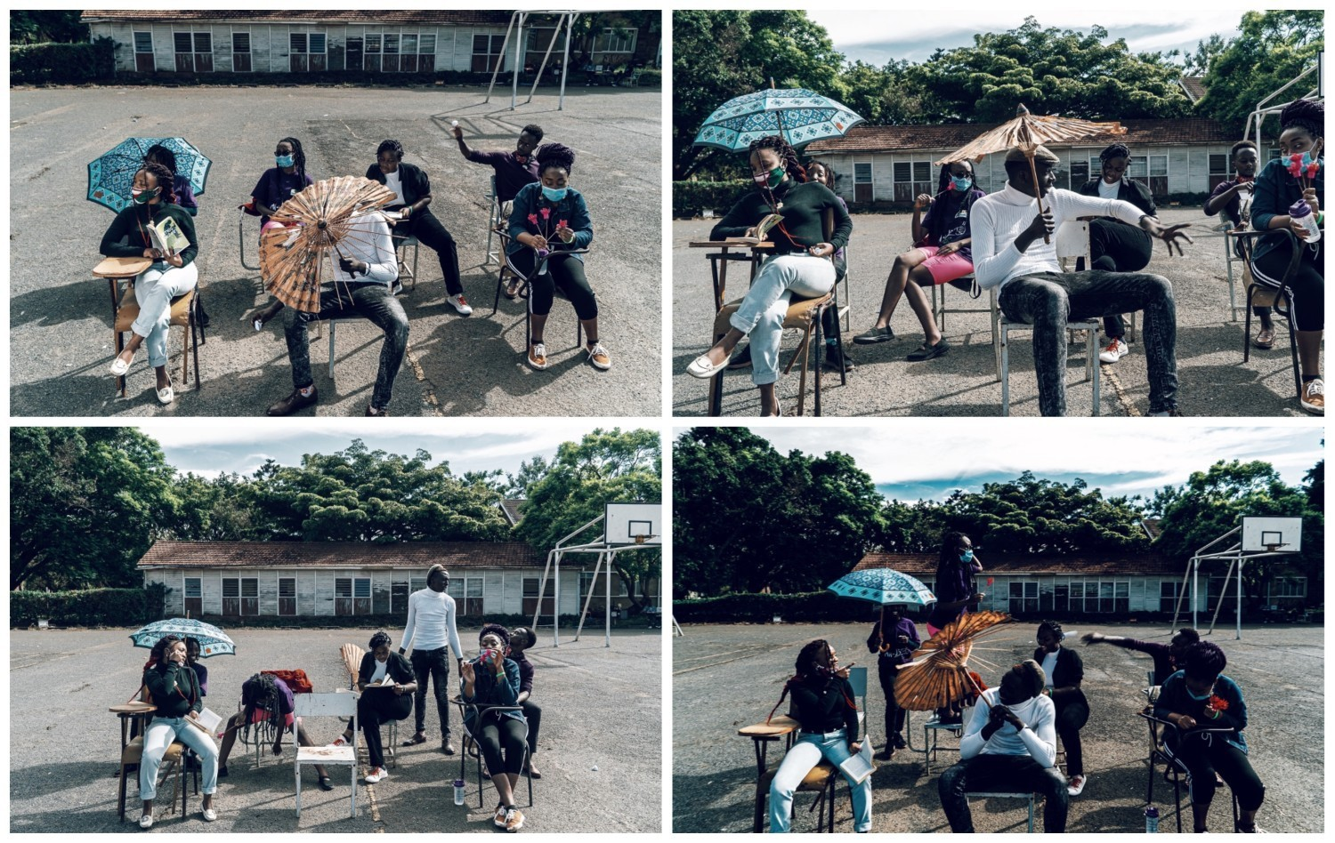 Set of 4 pics, showing students sitting on chairs outdoors, two holding umbrellas, one reading, others chatting.