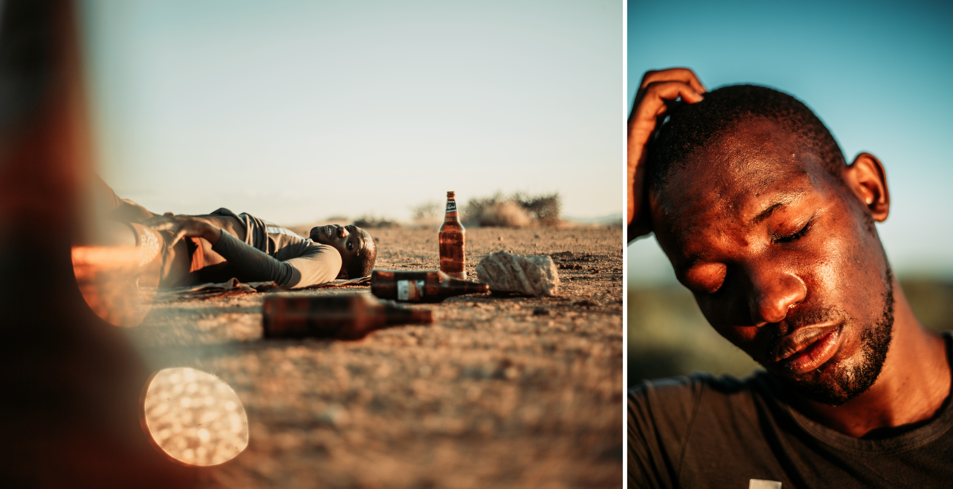 Young man lies on the sand, surrounded by beer bottles. Second image shows a close up of his face, against a blue sky, with eyes closed and hand resting on his head