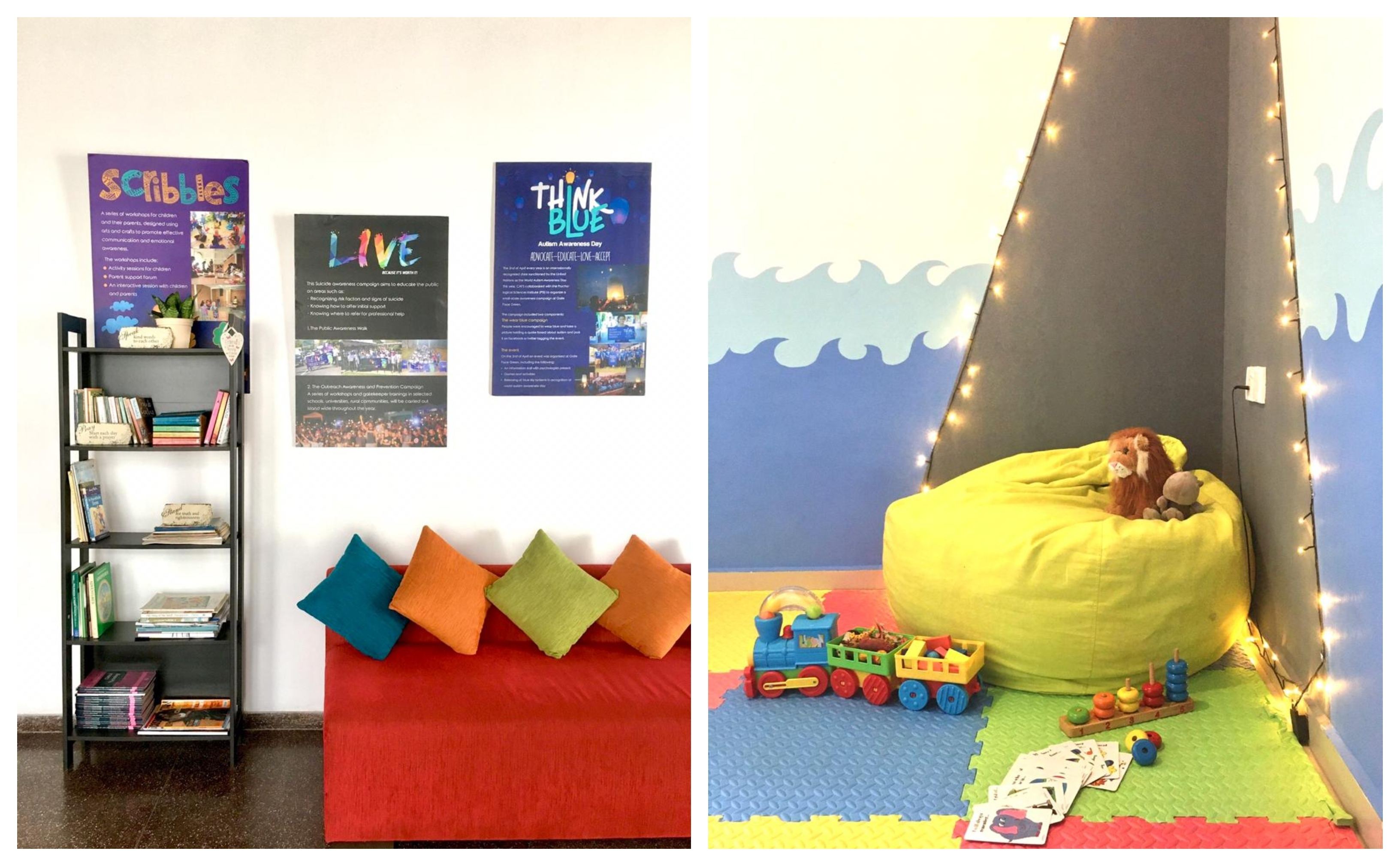 Photograph shows the interior of the CAFS space: a red sofa with colourful cushions neatly arranged on it, child-friendly posters on the wall and a book shelf with kids books and games stacked neatly on it.