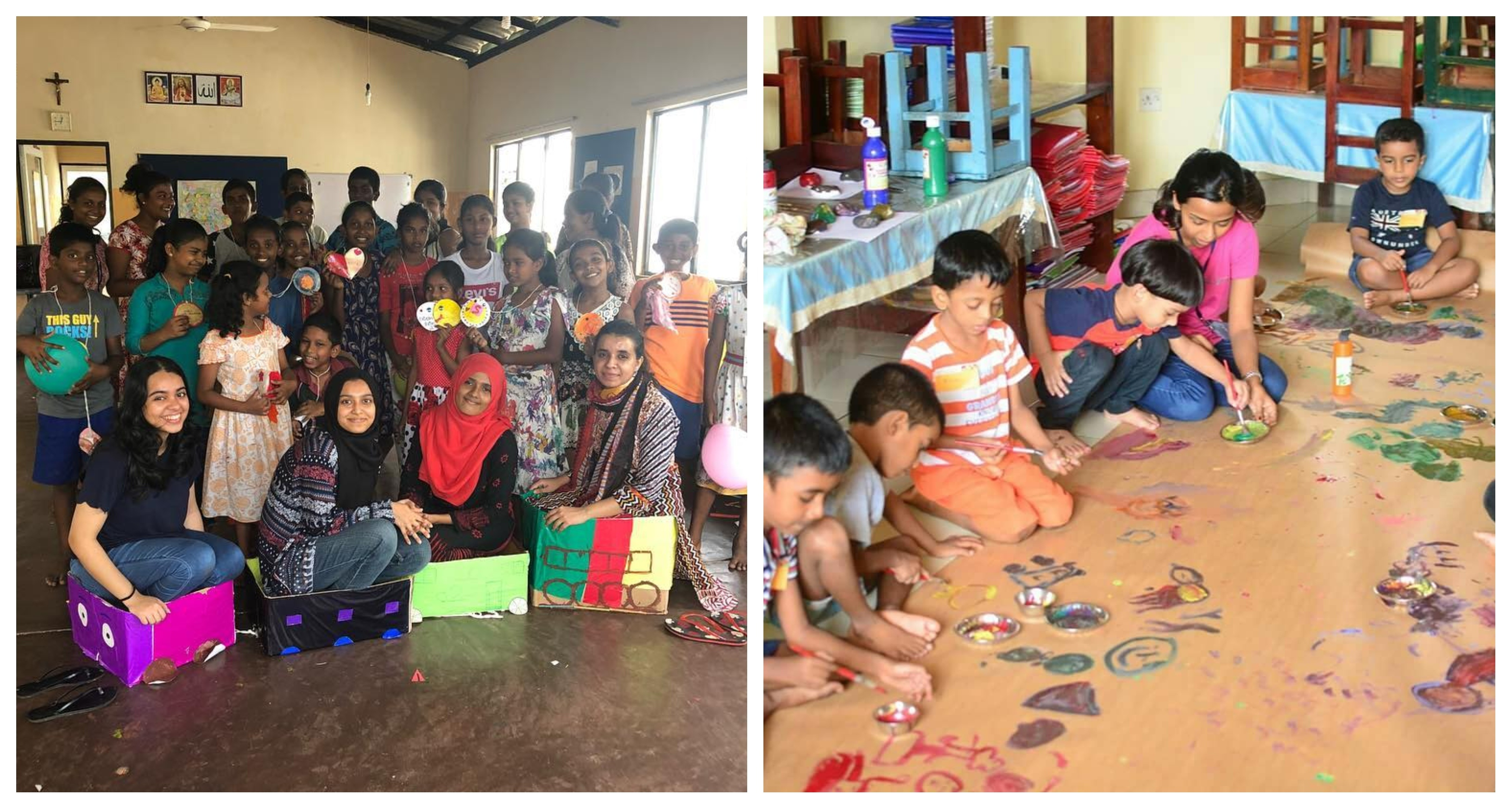 Two photographs side by side showing a CAFS kids workshop in progress: 1) five Sri Lankan children are seated on the floor painting on a roll of paper with bright paints. 2) Workshop participants are grouped together smiling at the camera and holding their creations.