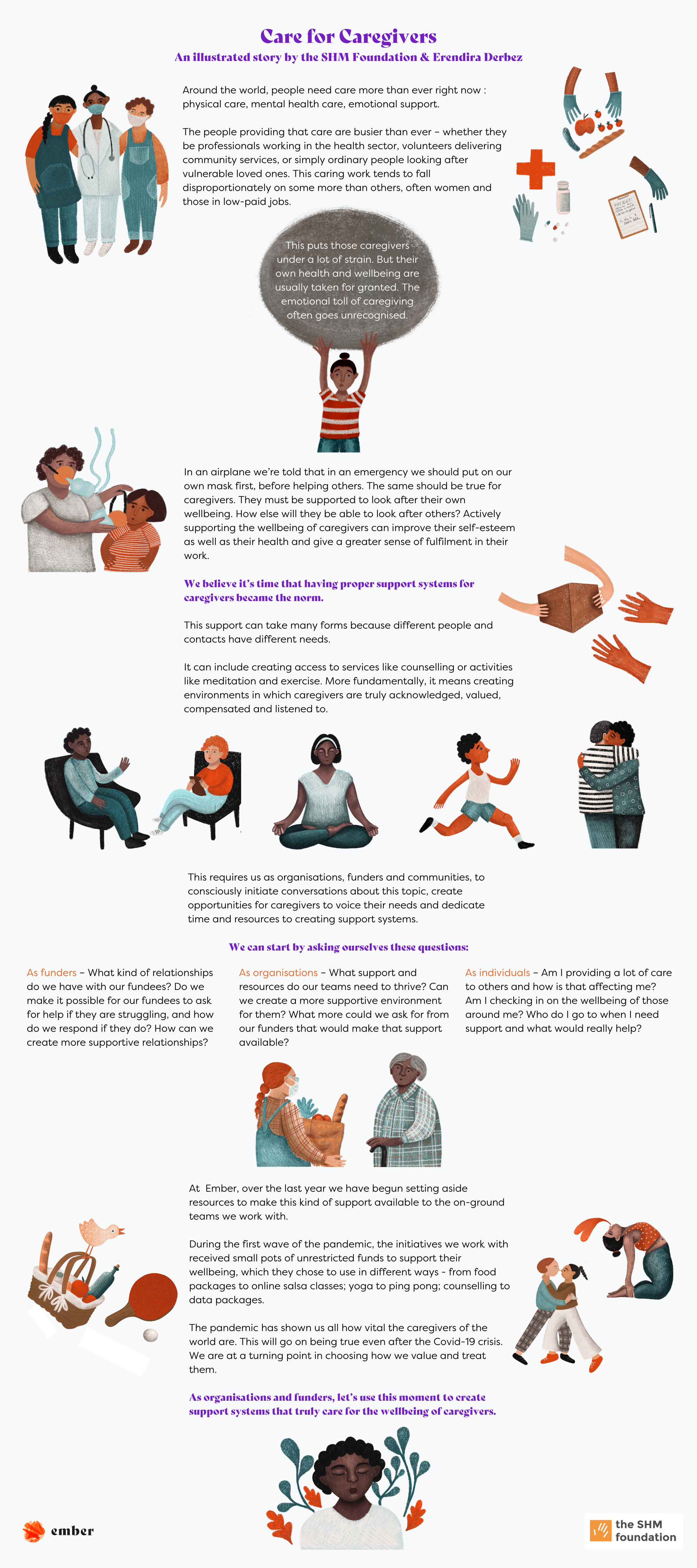 The 1st section shows different caregivers- health sector professionals, community service volunteers & family members. The 2nd section shows why caring for caregivers is important with an example- in an airplane, a person wears a mask first before helping others. The 3rd section shows ways in which Ember's partners used wellbeing funds- board games, counselling, food packs etc.